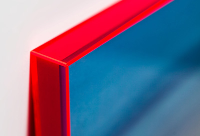 A close-up look at the neon acrylic frame